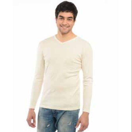 Underwear man long sleeve vest in organic cotton