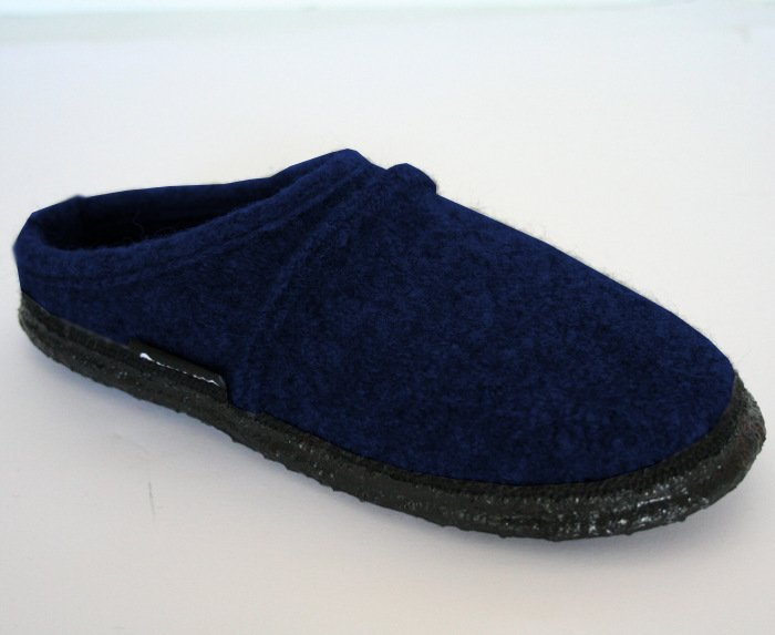 Unisex navy slippers in organic wool