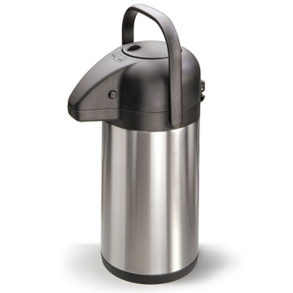 Vacuum flask with pump in stainless steel
