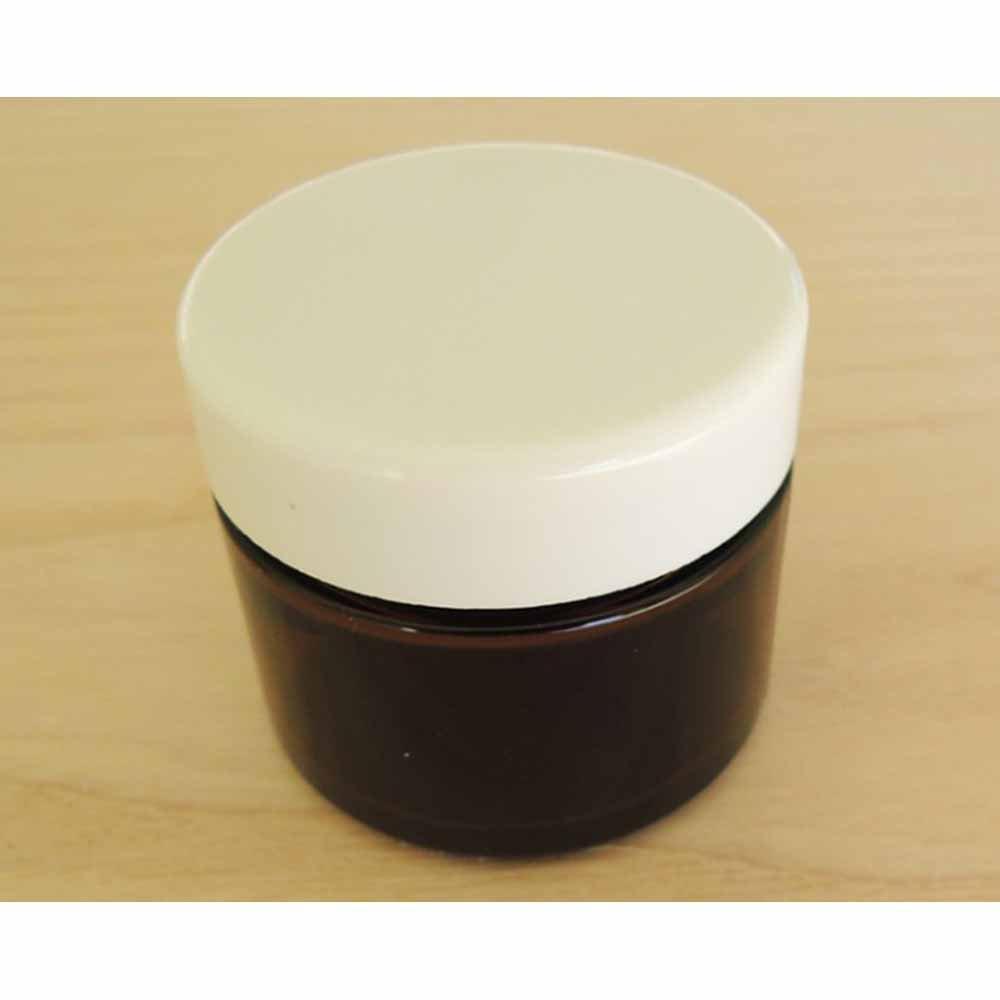 Vasetto vetro scuro 50 ml con tappo bianco