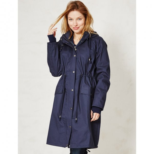 Waterproof jacket woman in organic cotton