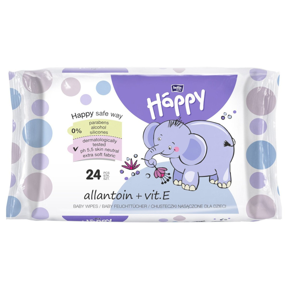 Wep wipes Happy Bella Baby Allantoin and Vit E- 24 pcs
