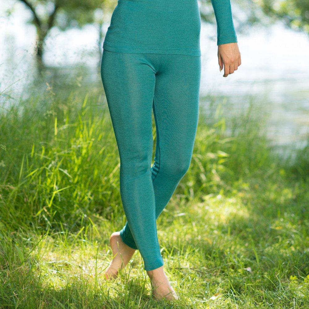 Woman leggings in organic wool and silk Turquoise