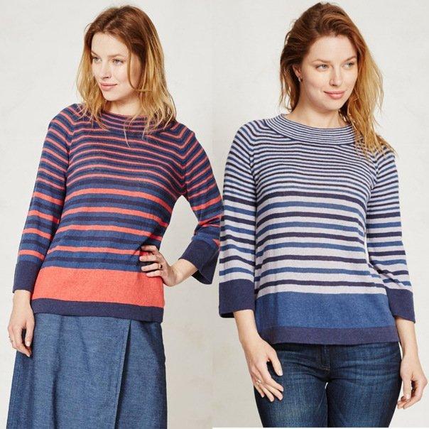 Woman long sleeve striped top in hemp