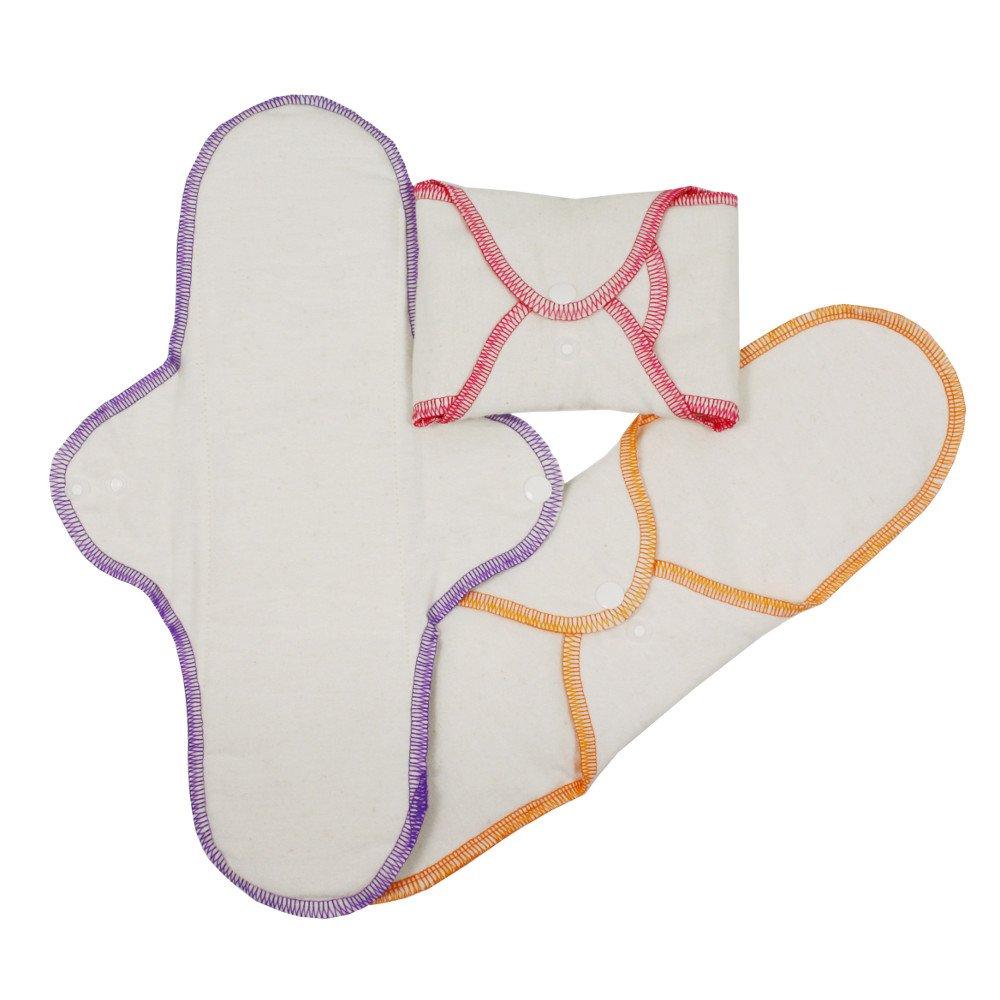Woman sanitary pads in organic cotton - Night set of 3