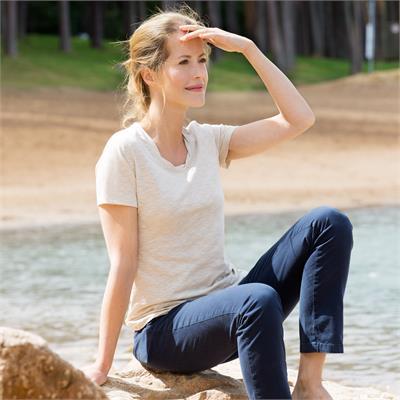 Woman short sleeve shirt in organic cotton