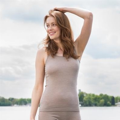 Woman sleeveless vest in wool and organic cotton
