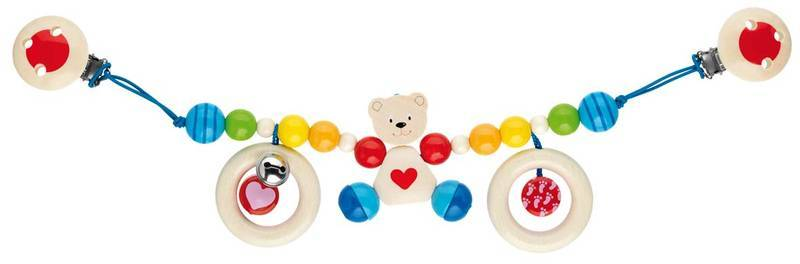 Wood pram chain  Teddy Bear