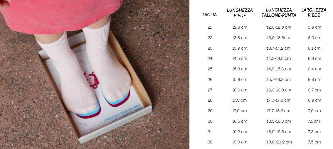 tabella taglie scarpe bambini barefoot
